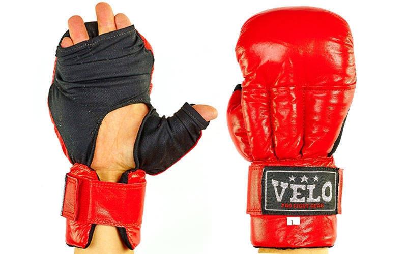 Перчатки для рукопашного боя Velo (кожа) красный