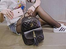 Городской стеганый рюкзак с кисточкой для модных девушек, фото 2