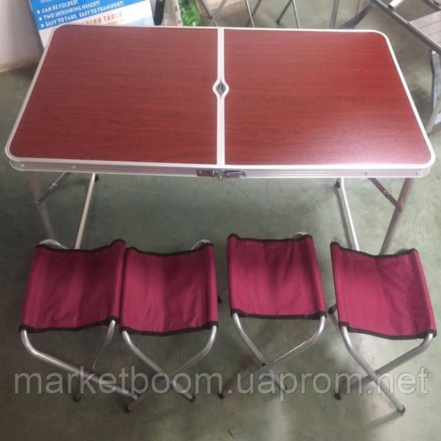 Стол для пикника раскладной+ 4 стула коричневый