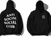 Худи Anti social social club черное с белым логотипом, унисекс (мужское,женское,детское)