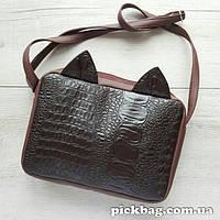 Женская сумка с ушками кошки коричневый Мур
