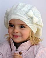 Вязаный берет для девочки белый, фото 1
