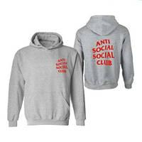 Худи Anti social social club серое с красным логотипом, унисекс (мужское,женское,детское)