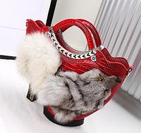 Модная сумочка туфля. Женская сумка из меха лисы