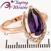 Кольцо позолота Капля-камень в мет. подкове