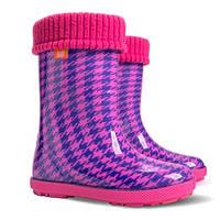 Резиновые сапоги для девочек DEMAR HAWAI LUX PRINT hf Пепита розовая