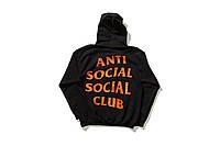 Худи Anti social social club черное с оранжевым логотипом, унисекс (мужское,женское,детское)