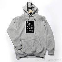 Худи Anti social social club серое с черным бокс-лого, унисекс (мужское,женское,детское)