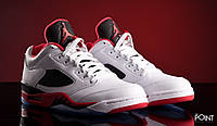 Баскетбольные кроссовки Air Jordan V Retro Low White/Red - 1480