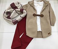 Детский костюм - кардиган , рубашка , брюки , шарф - для девочки на 2 - 6 лет