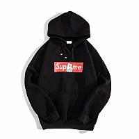 Худи Supreme + Ripndip черное с логотипом, унисекс (мужское, женское, детское)