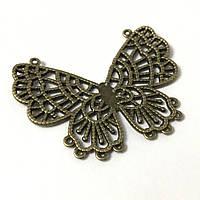 Металлические накладки декор. Бабочка. Цвет античная бронза. 60х48мм