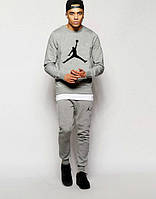 Мужской серый спортивный костюм Jordan   большое лого