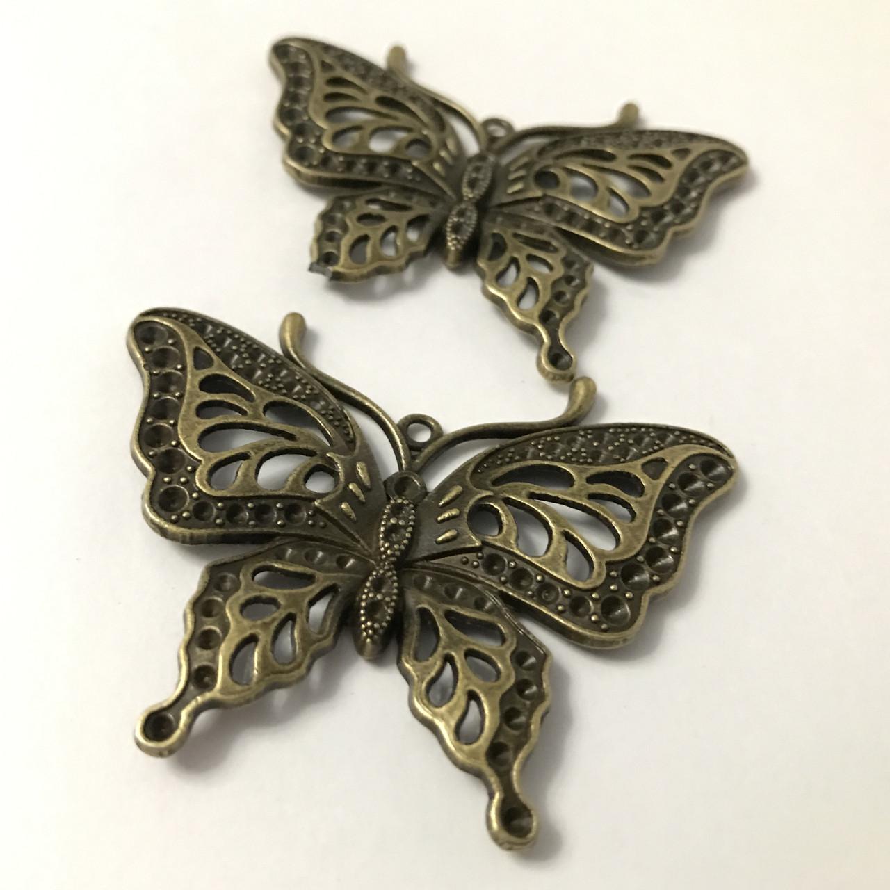 Металлические накладки декор. Бабочка. Цвет античная бронза. 60х50мм