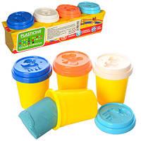 Тесто для лепки MK 0940  4 цвета (баночки с крышками-формочка), ароматизированное, 200 г, в коробке