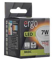 Светодиодная лампа ERGO, 7W, 3000K, тёплого свечения, MR16, цоколь - GU5.3, 1 год гарантии!