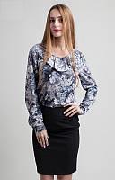 Модная серая блузка с узором хорошего качества