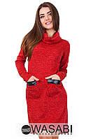 Платье Ангоровое ассиметричное с экокожей красное