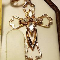Крест золотой с фианитами