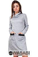 Платье Ангоровое ассиметричное с экокожей серое