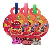 """Язычок - гудок праздничный """"Тортик"""" розовый, 6 шт/уп."""