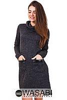 Платье Ангоровое ассиметричное с экокожей графитовое