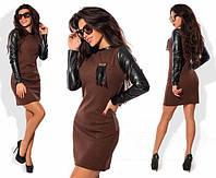 Платье Тёплое рукав экокожа шоколадное