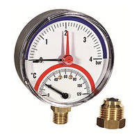 Термоманометр Watts ф 80  4(6) бар -120 С с обратным клапаном (Италия), фото 1