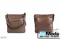 Оригинальная женская сумка Kiss Me brown из экокожи необычного фасона с декоративной вставкой из экокожи под рептилию коричневая