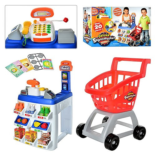"""Игровой набор """"Магазин"""" 31621, """"Супермаркет"""", касса, прилавок, тележка, продукты, свет, звук, на батарейках"""