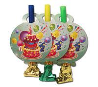 """Язычок - гудок карнавальный """"Праздничный торт"""" голубые, 6 шт/уп."""