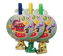 """Язычок - гудок праздничный """"Тортик"""" голубой, 6 шт/уп."""