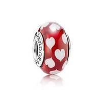 Шарм мурано красное с сердечками Pandora