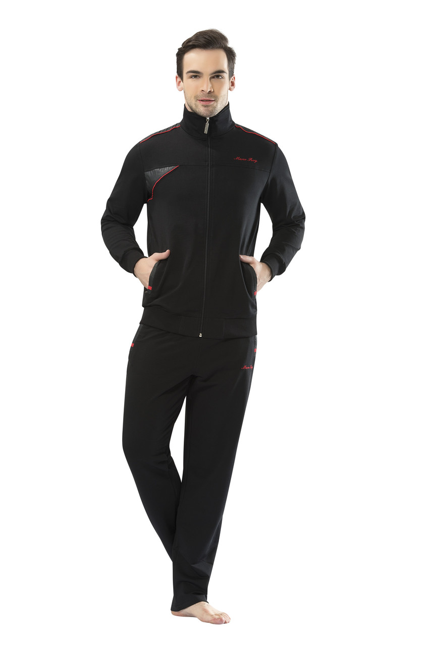 Трикотажный мужской черный спортивный костюм пр-во Турция FM17331-1