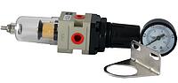 """Фильтр влагоотделитель для компрессора 1/4"""" с редуктором и манометром"""
