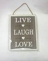Картина настенная LIVE LAUGH LOVE, 20х16 см, Картины, Стильные подарки