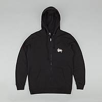 Худи на молнии Stussy,черное с логотипом,, унисекс (мужское,женское,детское)