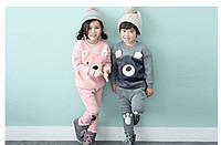 Флисовый комплект одежды Медвежонок, для девочек и мальчиков, костюм, набор, р. 80-90 (12-24 мес), теплый