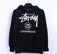 Худи Stussy Los Angeles черное с логотипом, унисекс (мужское,женское,детское)