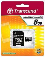 КАРТА ПАМЯТИ MICROSDHC TRANSCEND 8 GB CLASS 4 (+SD АДАПТЕР)
