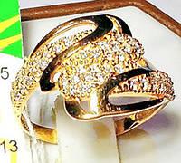Золотое кольцо из красного золота с цирконием