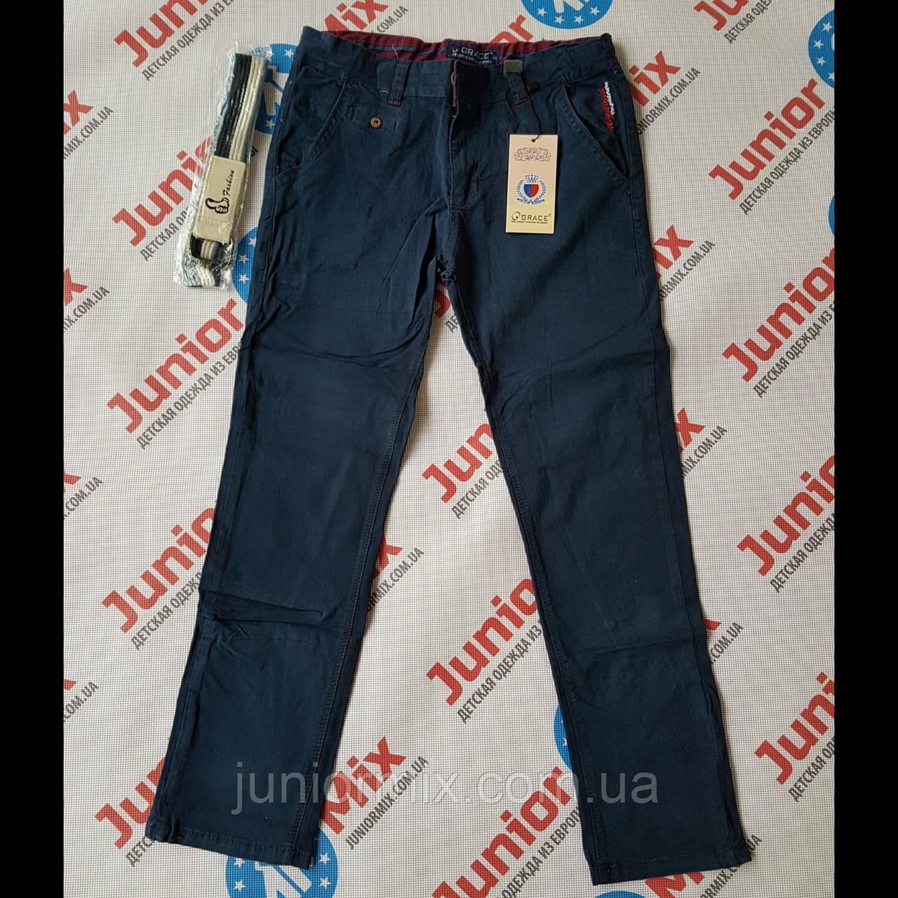 Котоновые подростковые брюки на мальчика синего цвета GRACE