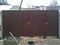 Ворота с калиткой из профнастила, фото 1