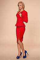 Деловой костюм офисного стиля для стройных девушек красный размер 42