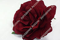 Голова розы тёмное бордо диаметр 9см