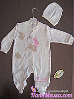 Человечек для новорожденных с шапочкой р. 74., фото 1