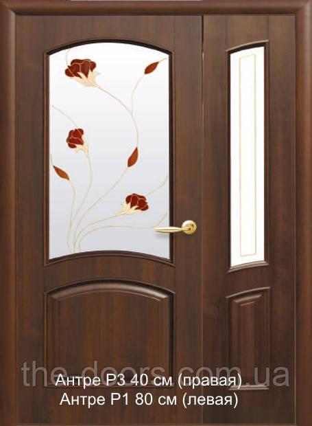 Двухстворчатые двери Антре Р стекло сатин