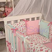 Комплект в кроватку (бортики - подушки) Baby Design прованс ПРЕМИУМ (натуральный наполнитель - ekotton)