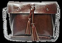 Женская сумка из натуральной кожи коричневого цвета с цепочкой IGF-011951