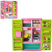 Холодильник  21676, игровой набор холодильник с продуктами, свет, звук, на батарейках, маленьким хозяйкам